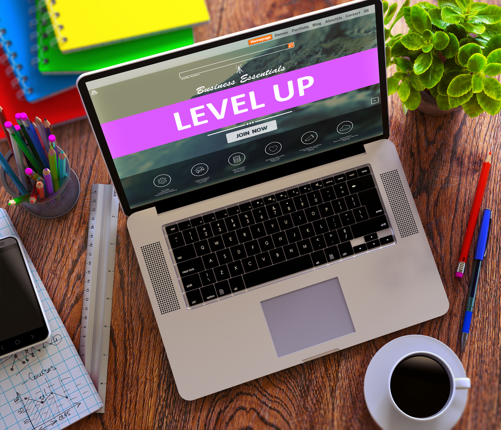 Level Up on Landing Page of Laptop Screen. Growth, Development Concept. 3D Render.