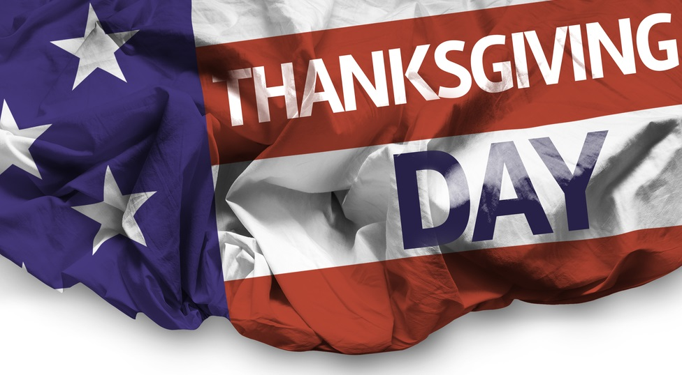 USA Thanksgiving Day waving flag on white background